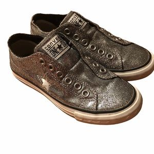 Converse One Star silver glitter low tops.Size 5.5